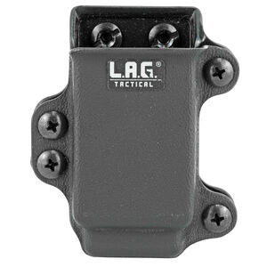 L.A.G Tactical Inc Single Pistol Magazine Carrier Double Stacked 9/40 Magazines Belt Clip Attachment System Kydex Construction Matte Black