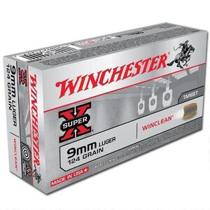 Winchester Winclean 9mm Luger Ammunition 50 Rounds, BEB, 124 Grains