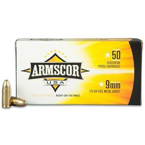 Armscor USA 9mm Luger Ammunition 50 Rounds FMJ 124 Grains F AC 9-4N