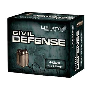Ammo .40 S&W Liberty Civil Defense 60 Grain Copper Hollow Point 2000 fps 20 Rounds LACD40012