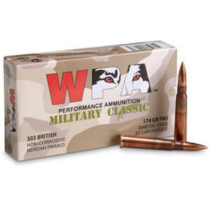Wolf Military Classic .303 British Ammunition 280 Rounds 174 Grain Full Metal Jacket Steel Cased Bi-Metal Jacket 2461fps