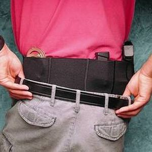 DeSantis Belly Band Holster Small Frame Autos Large Ambidextrous Elastic Black 060BJG3Z0