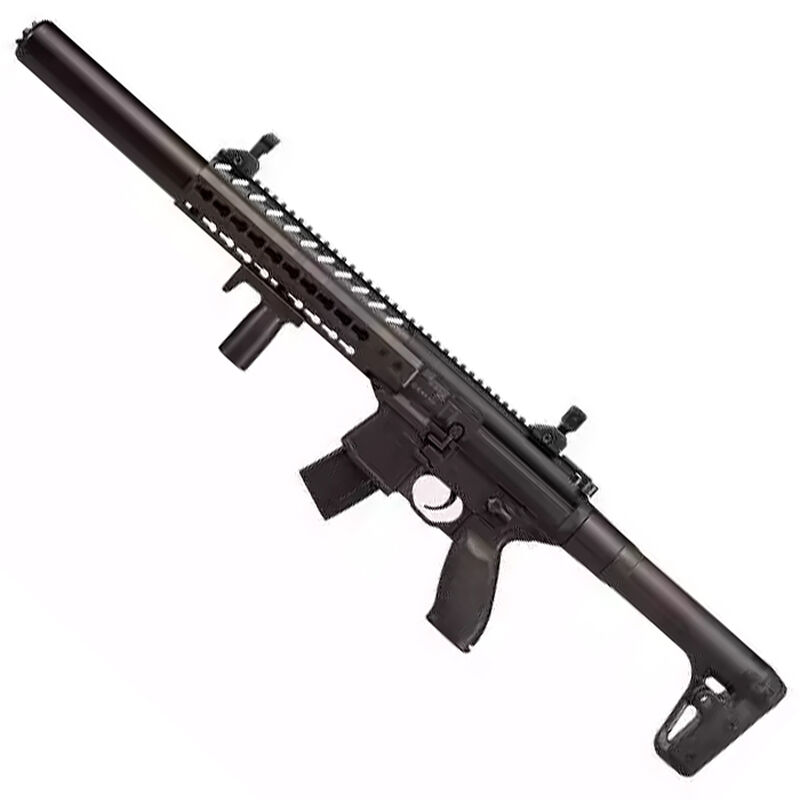 SIG Sauer MCX Semi-Automatic Air Rifle .177 Caliber 30 Rounds CO2 Powered Vertical Foregrip Adjustable Sights Metal Housing Polymer Stock Matte Black MCX
