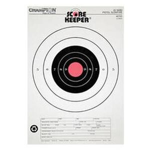 Champion Scorekeeper 25 Yard Pistol Slow Fire Paper Target Orange Bull 12 Pack 45723