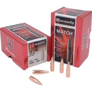 "Hornady .30 Caliber .308"" Rifle Bullets 100 Count Match BTHP 168 Grains 30501"