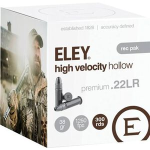 Eley High Velocity Hollow .22 Long Rifle Ammunition 300 Rounds LHP 38 Grains 05230