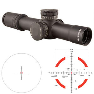 Trijicon AccuPower 1-8x28 Riflescope Illuminated Segmented Circle Crosshair Red LED Reticle First Focal Plane 34mm Tube .1 MIL Adjustments CR2032 Battery Aluminum Housing Matte Black