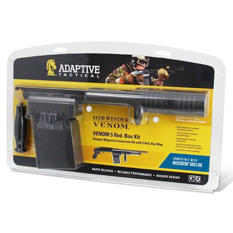 Adaptive Tactical, Sidewinder Venom Mossberg 12 Gauge Shotguns Conversion Kit, 5 Round Box Magazine, Standard Forend, Polymer, Black