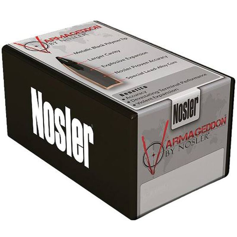 "Nosler Varmageddon Lead-Alloy Core Copper-Alloy Jacket Bullet .20 Caliber .204"" Diameter 32 Grain Hollow Point Flat Base Projectile 100 Per Box 17215"
