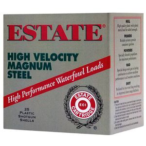 "Estate High Velocity 12 Ga 3"" #4 Steel 1.375oz 250 Rounds"