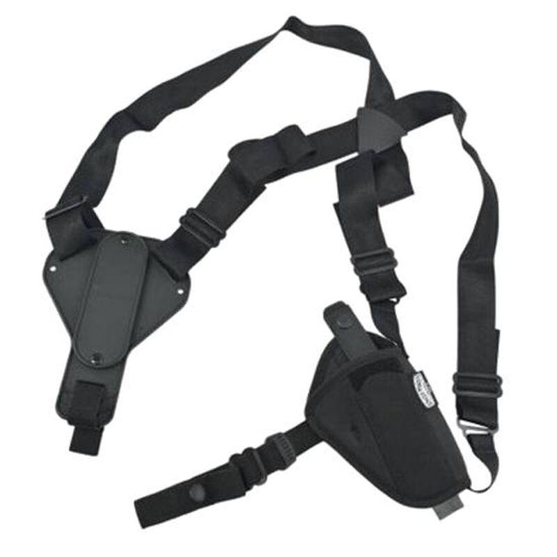 "Uncle Mike's Sidekick Cross Harness Horizontal 4.5""-5"" Barrel Large Frame Semi Autos Shoulder Holster Ambidextrous Nylon Black 8705-0"