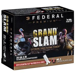 "Federal Grand Slam 20 Gauge Ammunition 10 Rounds 3"" #5 Copper Plated Lead 1-5/16 Ounce Flightcontrol Flex Wad 1185fps"