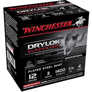 """Winchester Drylok Super Steel 12 Gauge Ammunition 25 Round Box 3"""" #4 Plated Steel Shot 1-1/4 oz 1400 fps"""