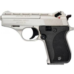 "Phoenix Arms HP25A Semi Auto Handgun .25 ACP 3"" Barrel 9 Rounds Black Plastic Grips Alloy Frame Satin Nickel Finish HP25ANB"