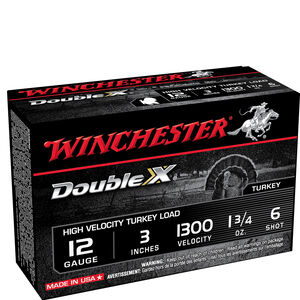 """Winchester Double X 12 Gauge Turkey Load Ammunition 3"""" #6 Plated Lead 1-3/4 Ounce 1300 fps"""