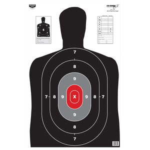"""Birchwood Casey Eze-Scorer Red Core BC-27 Silhouette Paper Target 23""""x35"""" Black and Grey 100 Pack"""