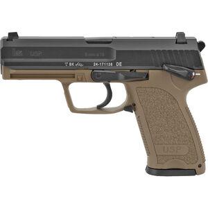 "Heckler & Koch USP9 V1, 9MM, Single/Double Action Semi Auto Pistol, 4.25"" Barrel, 10 Rounds, 3 Dot Sights, Polymer Frame, Flat Dark Earth Finish"