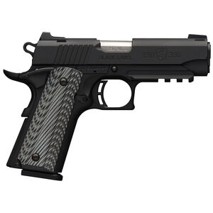 """Browning 1911-380 Black Label Pro Compact with Rail and Night Sights .380 ACP Semi Auto Handgun 8 Rounds 3.625"""" Barrel G10 Grips Matte Black"""