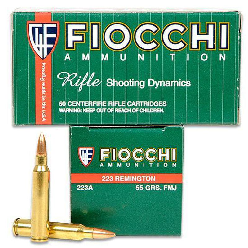 50 Rounds of Fiocchi Shooting Dynamics .223 Remington Ammunition 55 Grain FMJ Boat Tail Projectile 3240
