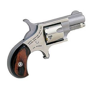 """NAA Mini Revolver .22 Short 1-1/8"""" Barrel 5 Rounds Rosewood Grips Stainless Steel"""