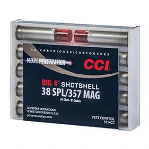 CCI Big 4 Shotshell .38 Special/.357 Magnum Ammunition 10 Rounds #4 Shot 84 Grain Bullet Weight 1000fps