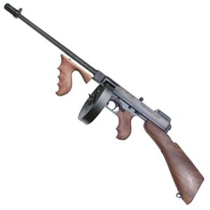 "Auto-Ordnance Thompson 1927A-1 Deluxe Semi Auto Carbine .45 ACP 16.5"" Finned Barrel 50 Round Drum/20 Round Stick Magazine Blade Front Sight Walnut Stock/Grip Blued Finish T150D"