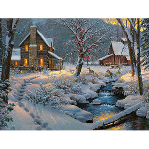 """Rivers Edge Products Warm and Cozy LED Art Canvas 16""""x12""""x1"""""""