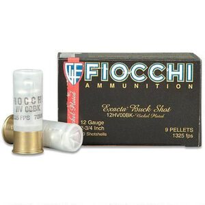 "Fiocchi Self Defense Buckshot 12 Gauge Ammunition 10 Rounds 2.75"" 00 Buckshot 9 Pellet Nickel Plated Lead 1325fps"