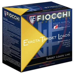 "Fiocchi Exacta Target Line 20 Gauge Ammunition 250 Rounds 2-3/4"" #8 Lead 7/8oz 1200fps"