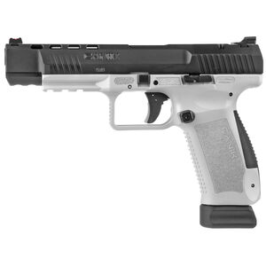 "Canik TP9SFx 9mm Luger Semi Auto Pistol 5.2"" Match Grade Barrel Fiber Optic Front Sight Interchangeable Backstraps Polymer Frame White/Black Finish"