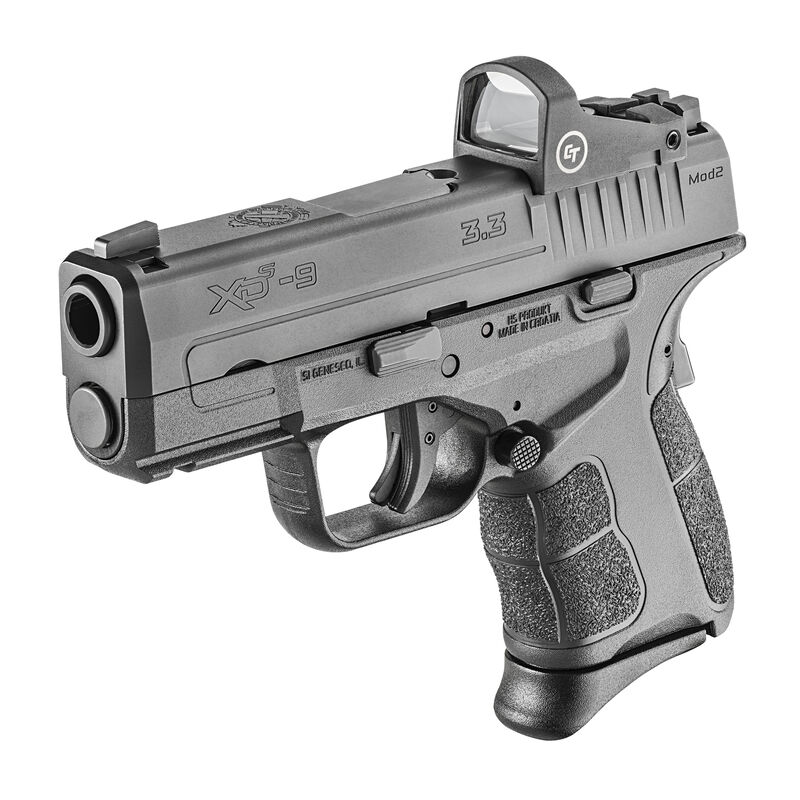 """Springfield Armory XD-S Mod.2 OSP 9mm Luger Semi Auto Pistol 3.3"""" Barrel 9 Rounds Optics Ready With Crimson Trace Red Dot Two Magazines Black"""