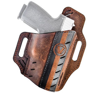 Versacarry Underground Premium Guardian Formula 1 Holster GLOCK 17/19 and Similar OWB Right Hand Water Buffalo Leather Distressed Brown and Black