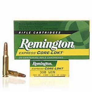 Remington Express .308 Winchester Ammunition 20 Rounds 180 Grain Core-Lokt Soft Point Projectile 2620fps