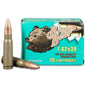Brown Bear 7.62x39mm Rifle Ammunition, 500 Rounds, HP, 123 Grains