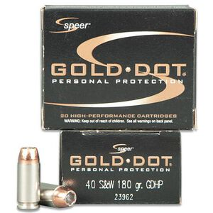 Speer .40 S&W Ammunition 20 Rounds Gold Dot HP 180 Grains