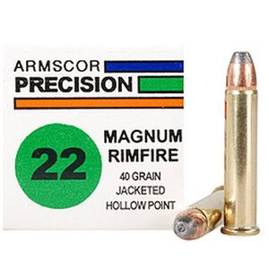 Armscor USA .22 WMR Ammunition, 50 Rounds, JHP, 40 Grains