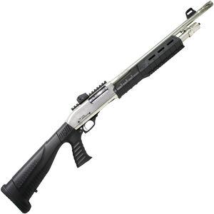 "Iver Johnson Pump Action Shotgun 12 Gauge 18.5"" Barrel 3"" Chamber 5 Rounds Black Two Piece Pistol Grip Stock Satin Nickel Finish"