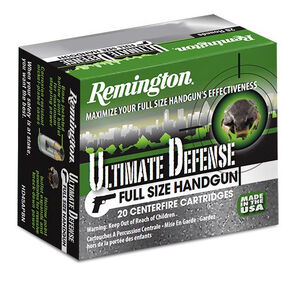 Remington Ultimate Defense 9mm +P Ammunition 20 Rounds 124 Grain Brass Jacketed Hollow Point 1180fps