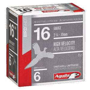 "Aguila Field HV 16 Gauge Ammunition 25 Rounds 2-3/4"" Length 1-1/8 Ounce #6 Lead Shot 1240fps"