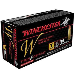 Winchester Train and Defend .38 Special Ammunition 50 Rounds, Reduced Lead FMJ, 130 Grains