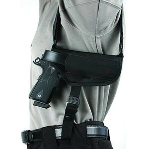 "BLACKHAWK! Horizontal Shoulder Holster 2"" to 3"" Barrel Small to Medium Frame Double Action Revolver Right Hand Black Nylon Shirt Size L-XXL 40HS00BK-LG"