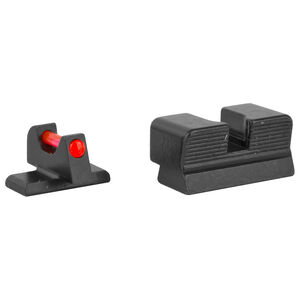 Trijicon Fiber Optic Sight Set Fits FNH USA FN 509 Red Fiber Front/Blacked Out Rear Steel Housing Matte Black Finish