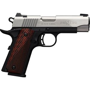 """Browning 1911-380 Black Label Medallion Compact .380 ACP Semi Auto Pistol 3.625"""" Barrel 8 Rounds Bar/Dot Night Sights Rosewood Laminate Grips Two Tone Stainless Steel Slide Black Poly Frame"""