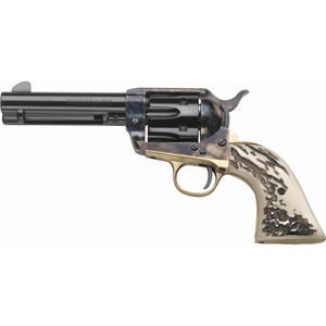 "Taylor's & Co Cattleman 1873 Single Action Stag .45 LC Single Action Revolver 4.75"" Barrel 6 Rounds Synthetic Imitation Stag Grips Case Hardened/Blued Finish"