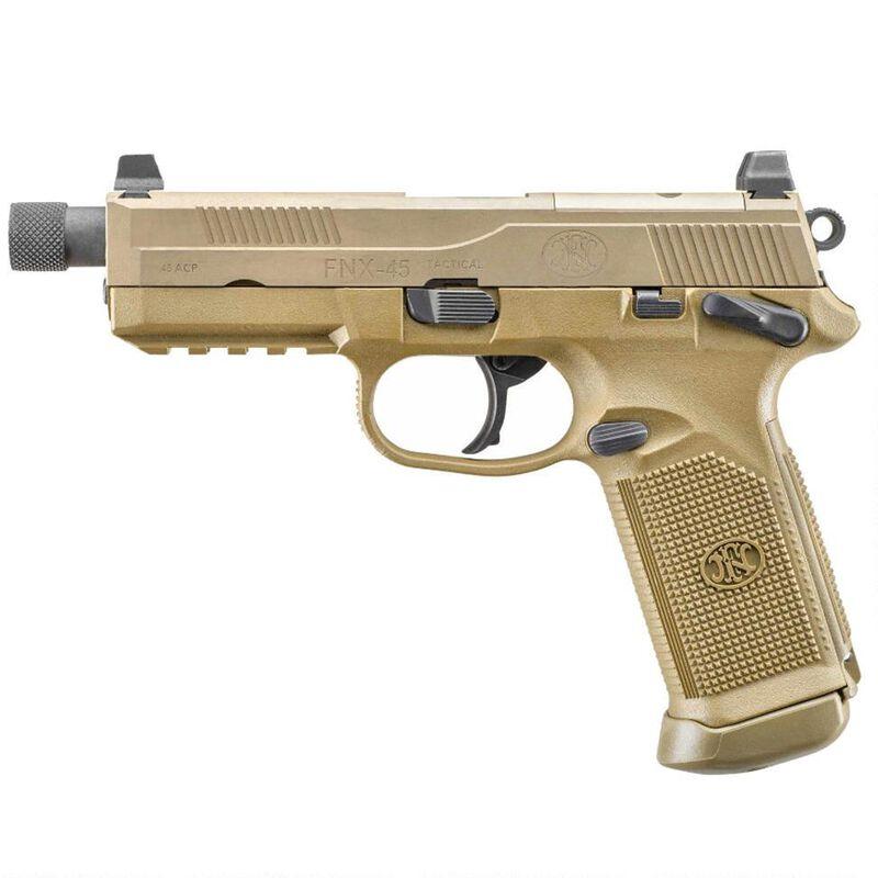 "FN FNX-45 Tactical Semi Auto Handgun .45 ACP 5.3"" Threaded Barrel 10 Rounds Fixed 3 Dot Night Sights MIL-STD-1913 Accessory Rail Ambidextrous Flat Dark Earth"