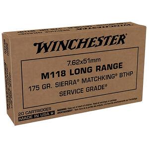 Winchester Service Grade M118 Long Range 7.62x51 NATO Ammunition 20 Rounds 175 Grain Sierra MatchKing Boat Tail Hollow Point