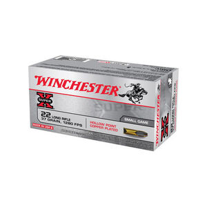 Winchester Super X .22LR Ammunition 37 Grain Copper Plated HP 1280 fps