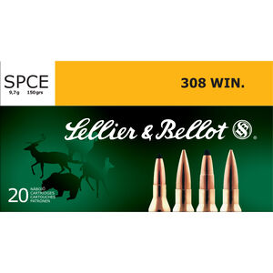 Sellier & Bellot .308 Winchester Ammunition 20 Rounds 150 Grain Soft Point Cutting Edge Projectile 2,756fps