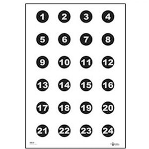 "Action Target Military 3"" Numbered Circles Command Training Target 1 thru 24 Paper Target 23""x35"" 100 Pack"