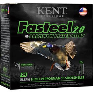 "Kent Cartridge Fasteel 2.0 Waterfowl 12 Gauge Ammunition 2-3/4"" Shell #4 Zinc-Plated Steel Shot 1-1/4oz 1300fps"